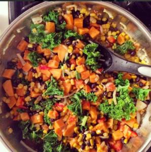 sweet potato skillet cooking