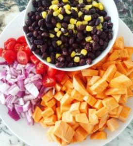 chopped up sweet potato, onion, tomato and beans & corn