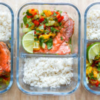 Pan-Seared Salmon, Coconut Rice & Mango Salsa