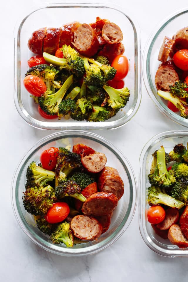 Italian Sausage Meal Prep Bowls in glass meal prep container