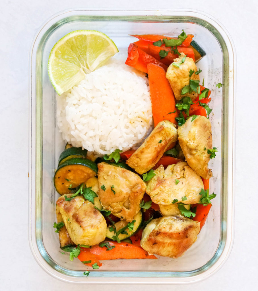 Chicken satay bowl with rice and stir fry veggies