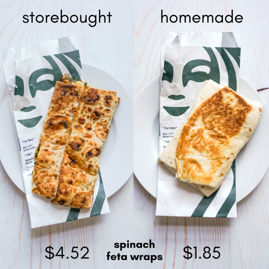 """A comparison of two breakfast wraps side by side with the words """"store bought"""" and """"homemade"""" on the top. The wraps are laying onto top of Starbucks wrappers with their logo, on top of a white plate"""