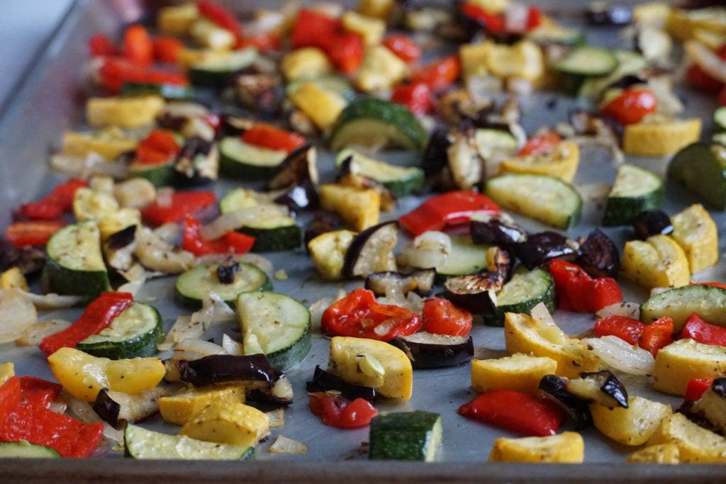 sheet pan ratatouille vegetables