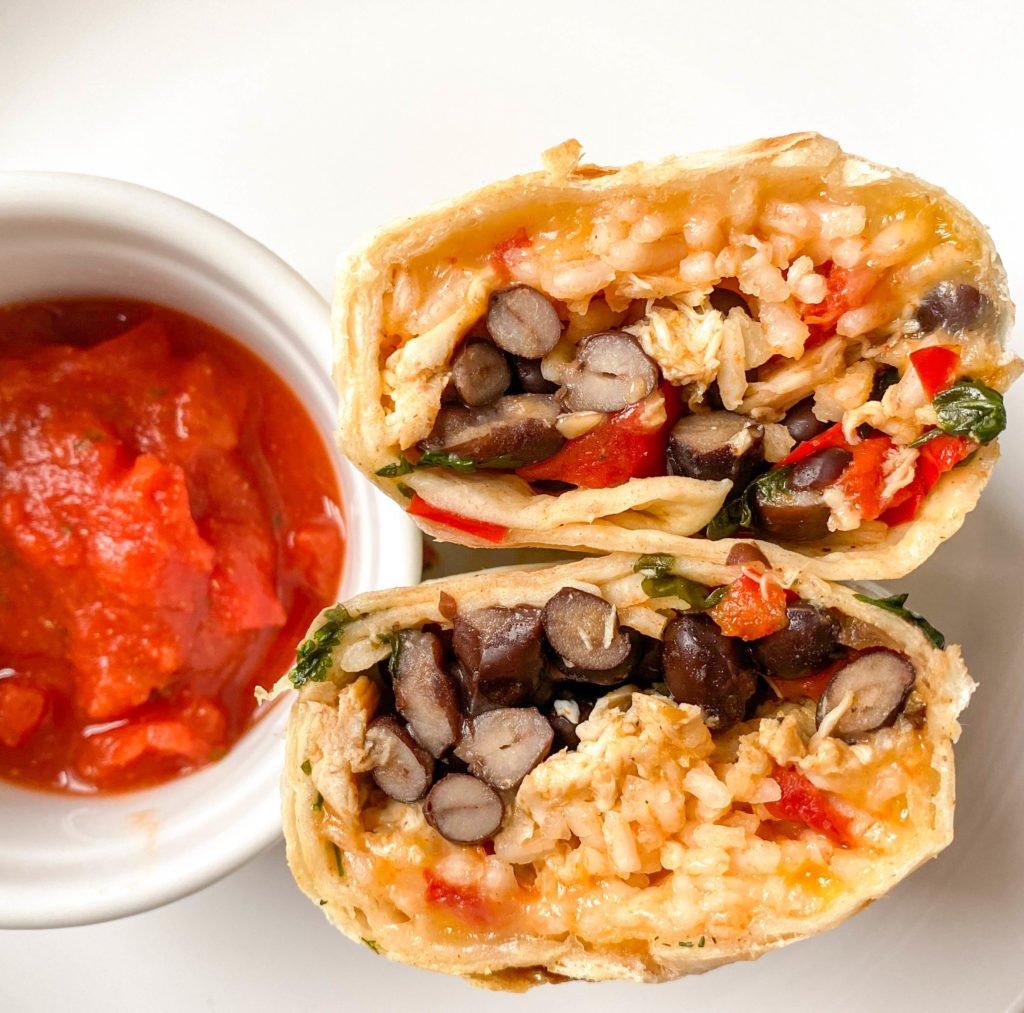 Burrito cut in half, perfect for camping