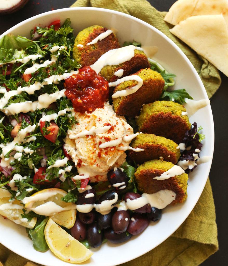 A mediterranean bowl with falafel