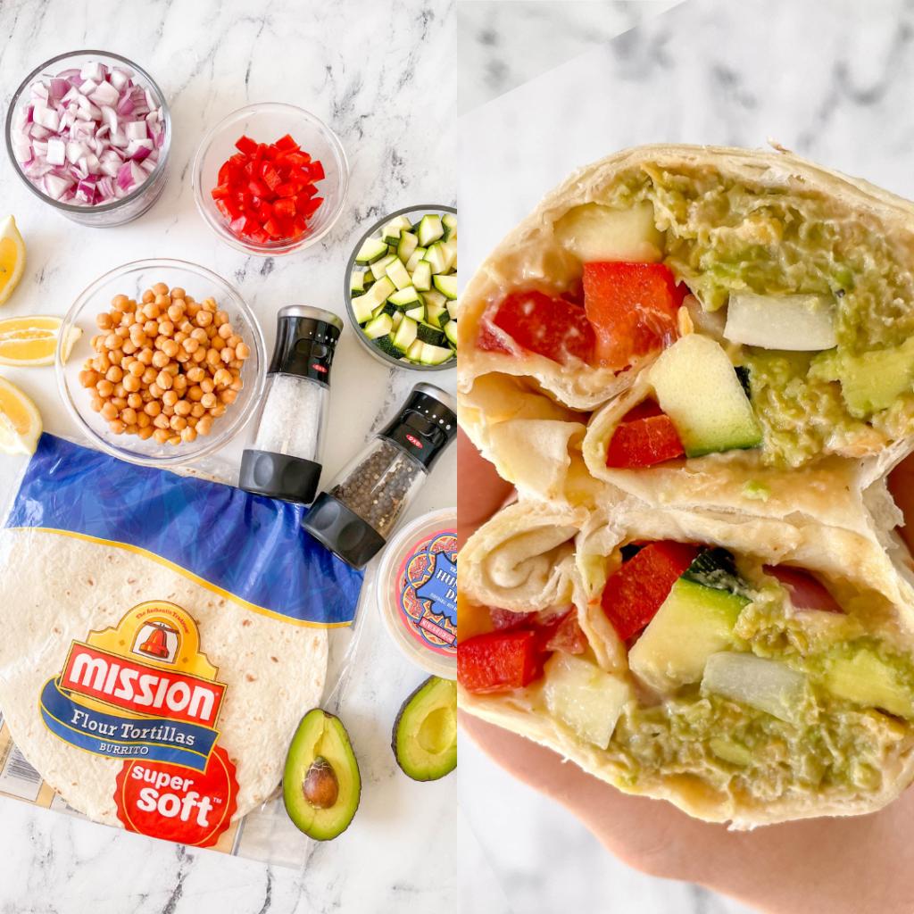 no-cook chickpea avocado wrap for meal prep