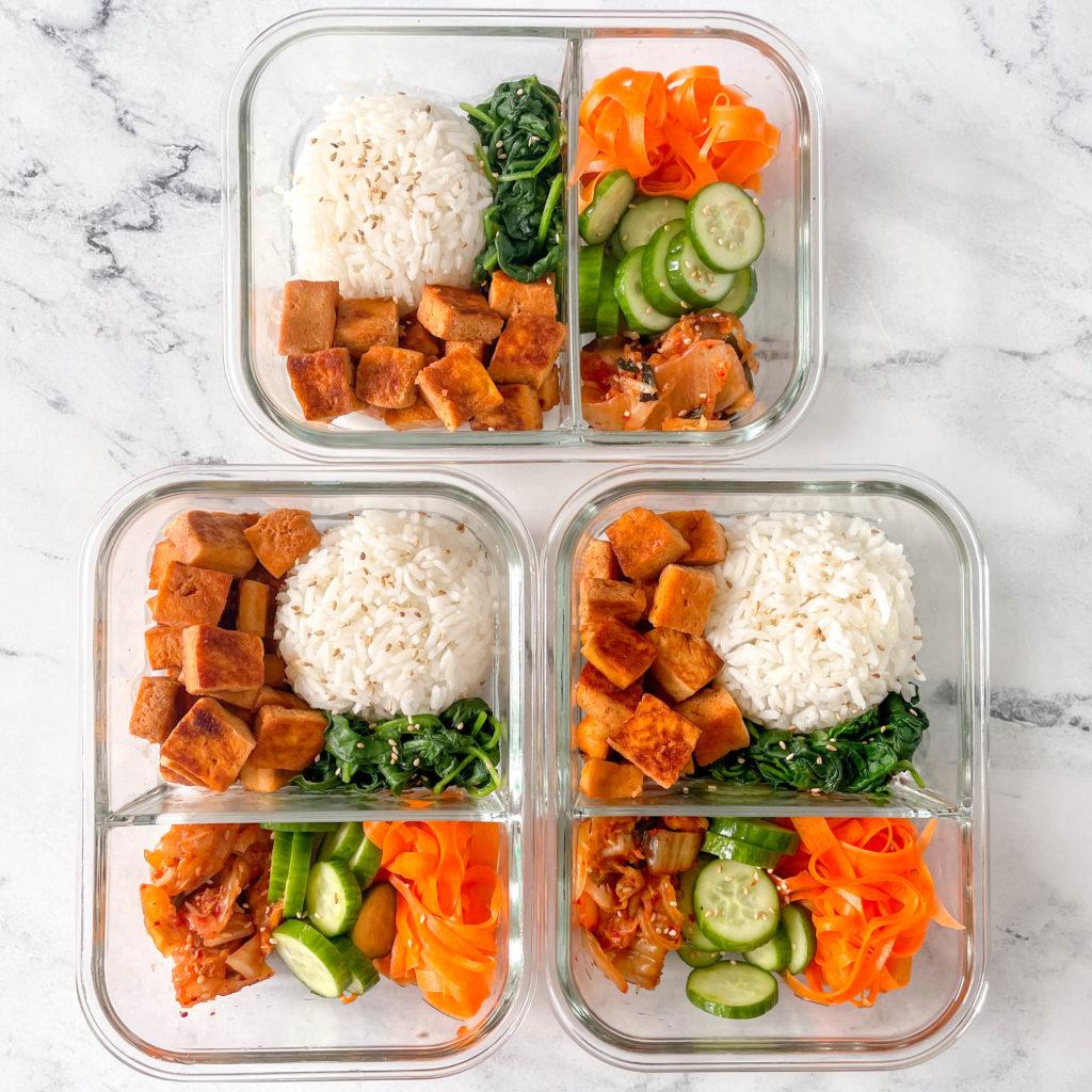 Vegetarian bibimbap bowls with tofu for meal prep