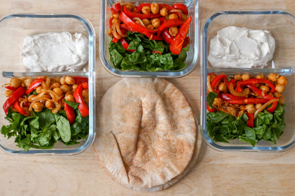 No-reheat Chickpea, spinach, onion, and red pepper pita wraps for cold lunches