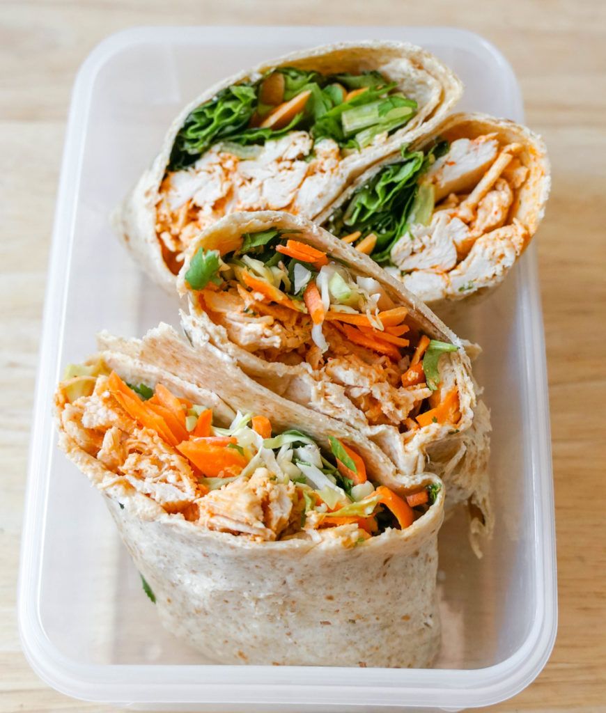 No-Reheat Crunchy Thai Chicken Wraps for meal prep cold lunches