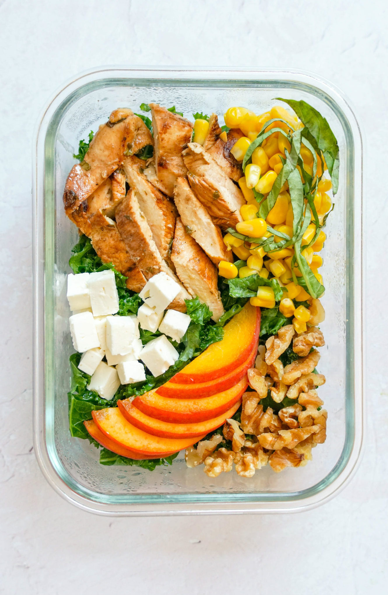 peach kale salad for meal prep, workweek lunch