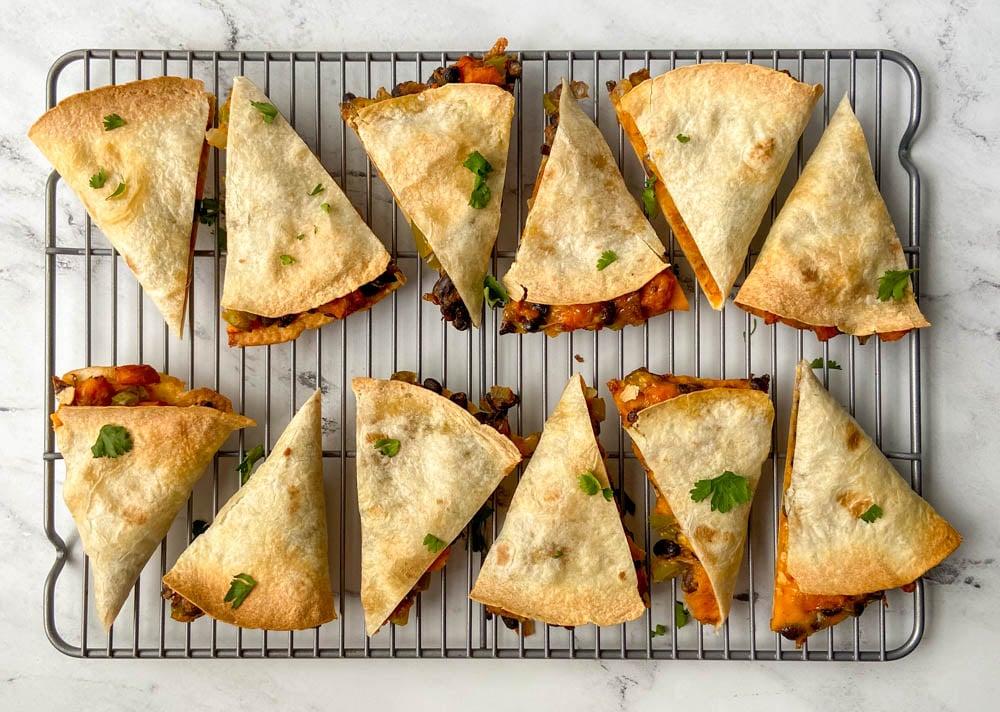 baking vegetarian quesadillas in the oven
